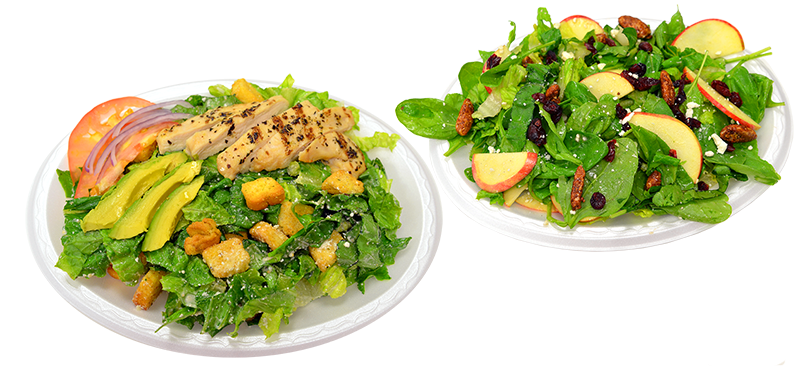 Cesar Salad and Apple Walnut Salad